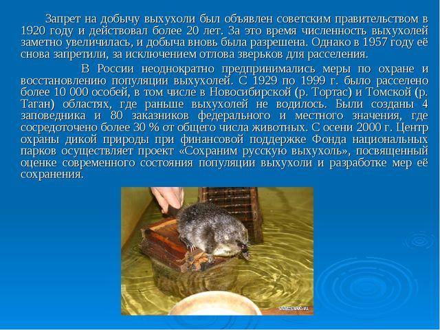 Запрет на добычу выхухоли был объявлен советским правительством в 1920 году...