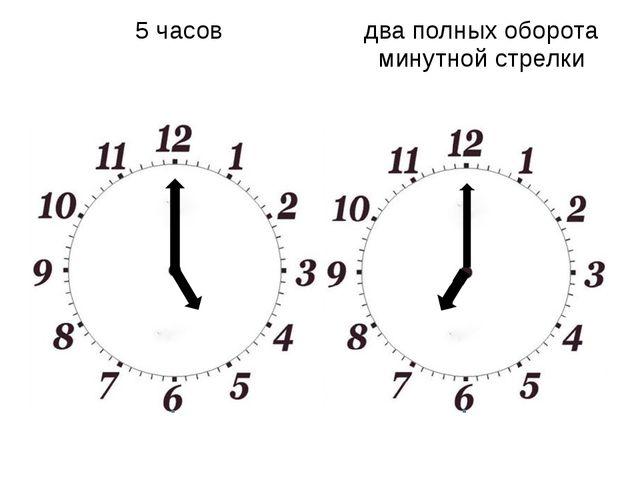 5 часов два полных оборота минутной стрелки