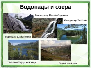 Водопады и озера Водопад на р. Шумилиха Водопад на р.Нижняя Зародная Меандр н