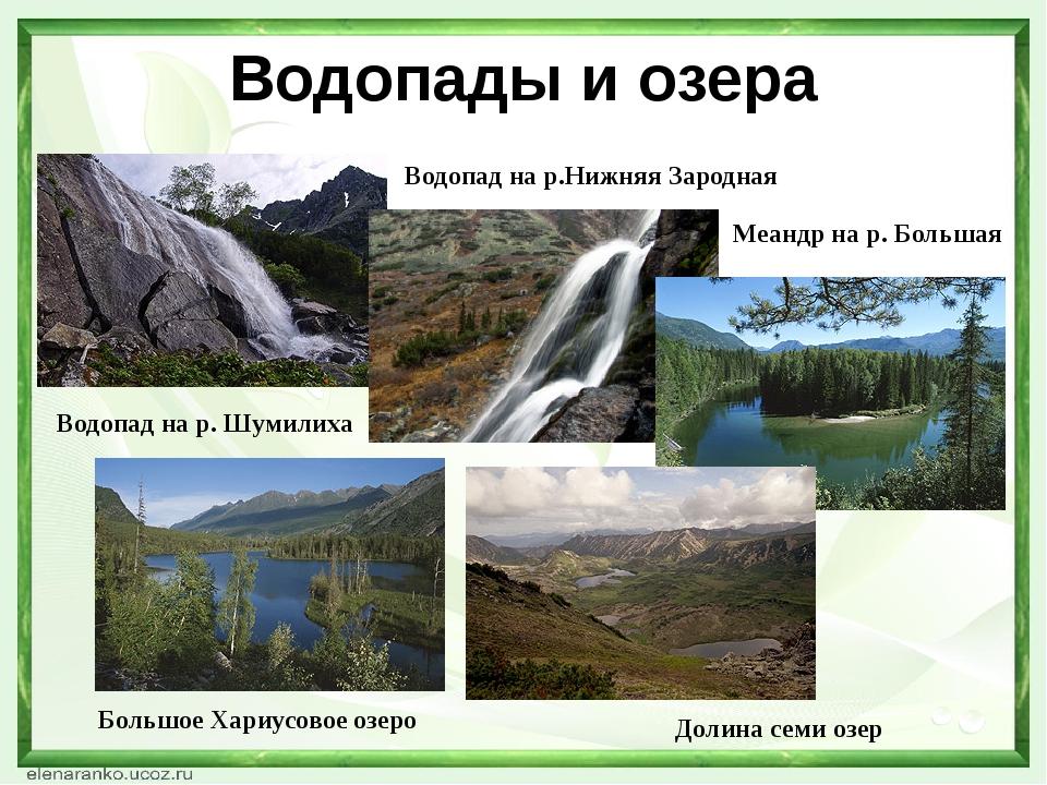 Водопады и озера Водопад на р. Шумилиха Водопад на р.Нижняя Зародная Меандр н...
