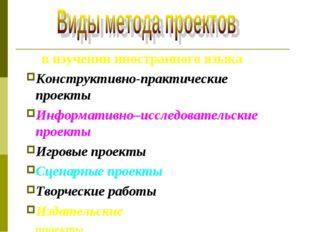 в изучении иностранного языка Конструктивно-практические проекты Информативн