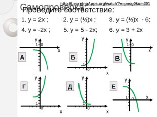 Самопроверка: 1. y = 2x ; 2. y = (½)x ; 3. y = (½)x - 6; 4. y = -2x ; 5. y =