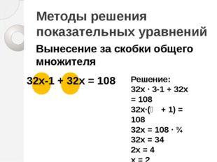 Методы решения показательных уравнений Вынесение за скобки общего множителя