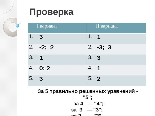 "Проверка За 5 правильно решенных уравнений - ""5""; за 4 — ""4""; за 3 — ""3""; за..."