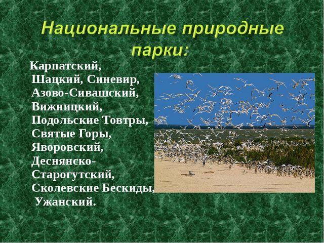Карпатский, Шацкий, Синевир, Азово-Сивашский, Вижницкий, Подольские Товтры,...