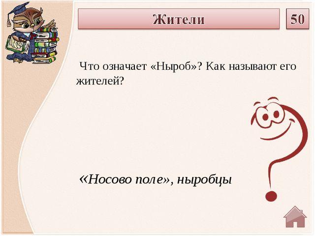 «Носово поле», ныробцы Что означает «Ныроб»? Как называют его жителей?