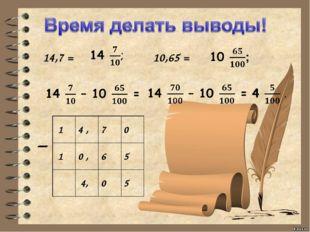 14,7 = 10,65 = – 14,70 10,65 4,05