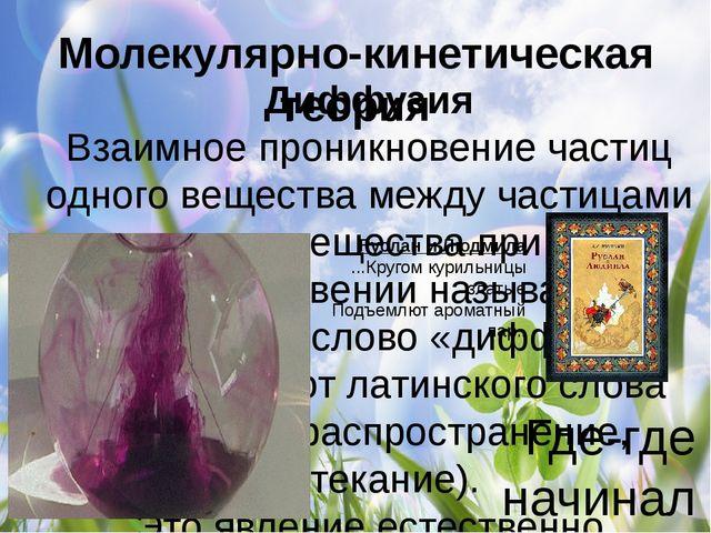 Молекулярно-кинетическая теория Диффузия Взаимное проникновение частиц одного...
