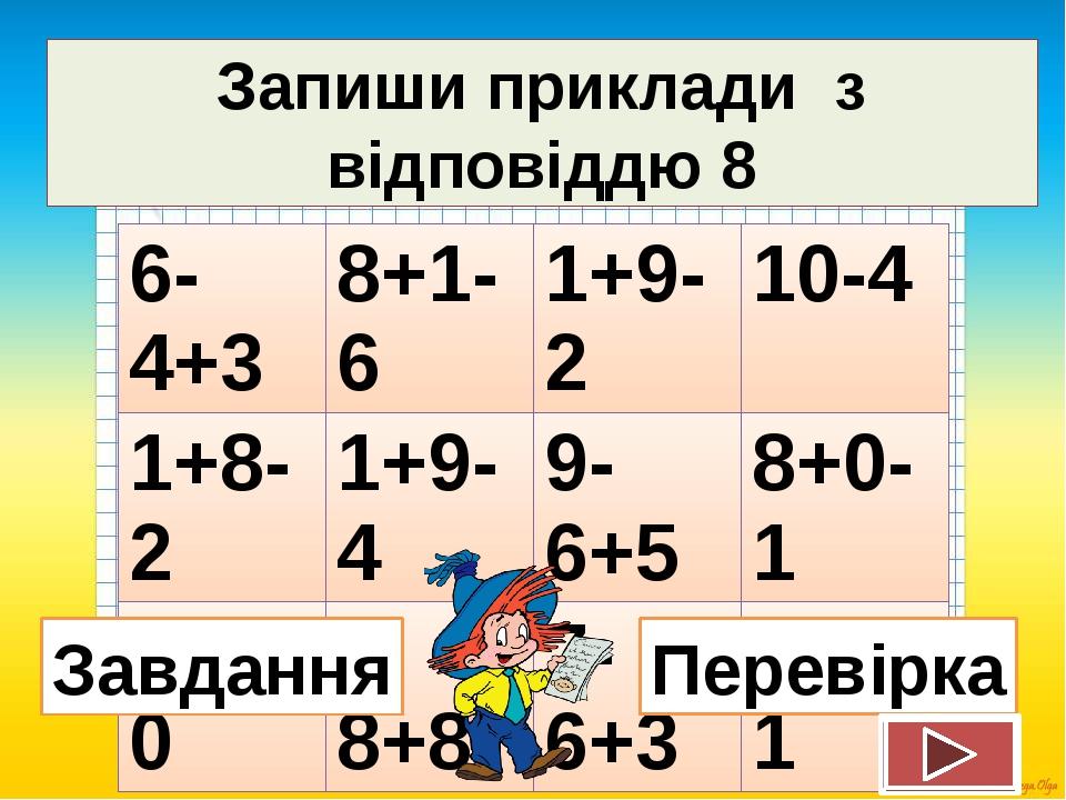 Запиши приклади з відповіддю 8 Завдання Перевірка 6-4+3 8+1-6 1+9-2 10-4 1+8-...