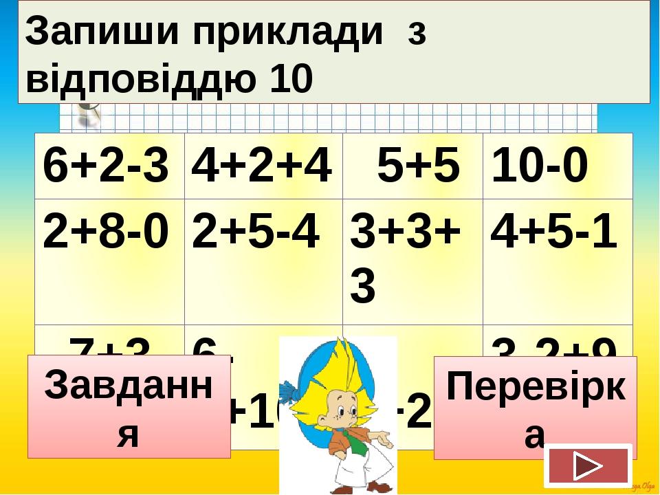 Запиши приклади з відповіддю 10 Завдання Перевірка 6+2-3 4+2+4 5+5 10-0 2+8-0...