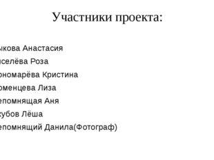 Участники проекта: Быкова Анастасия Киселёва Роза Пономарёва Кристина Тюменце