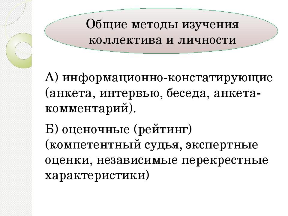 А) информационно-констатирующие (анкета, интервью, беседа, анкета-комментарий...