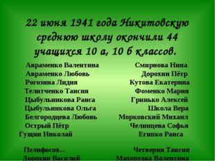 22 июня 1941 года Никитовскую среднюю школу окончили 44 учащихся 10 а, 10 б