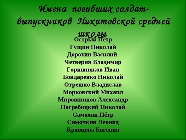Имена погибших солдат-выпускников Никитовской средней школы Острый Пётр Гущин...