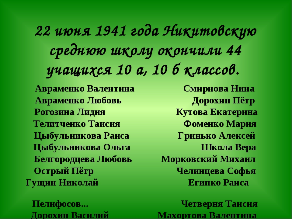 22 июня 1941 года Никитовскую среднюю школу окончили 44 учащихся 10 а, 10 б...