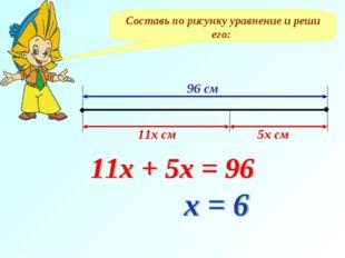 Составь по рисунку уравнение и реши его: 96 см 11х см 5х см