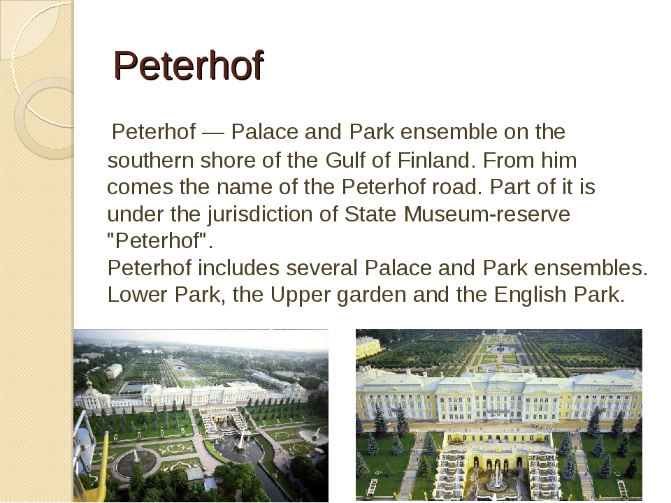 Peterhof Peterhof — Palace and Park ensemble on the southern shore of the Gu...