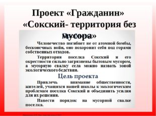 Проект «Гражданин» «Сокский- территория без мусора» Матюшкина А.В. http://nsp