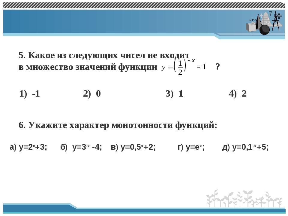 5. Какое из следующих чисел не входит в множество значений функции ? 1) -1 2)...
