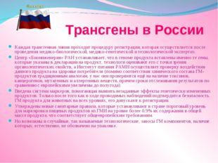 Трансгены в России Каждая трансгенная линия проходит процедуру регистрации,
