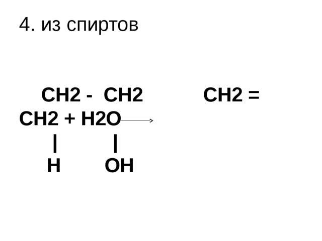4. из спиртов   CH2 - CH2 CH2 = CH2 + H2O | | H OH