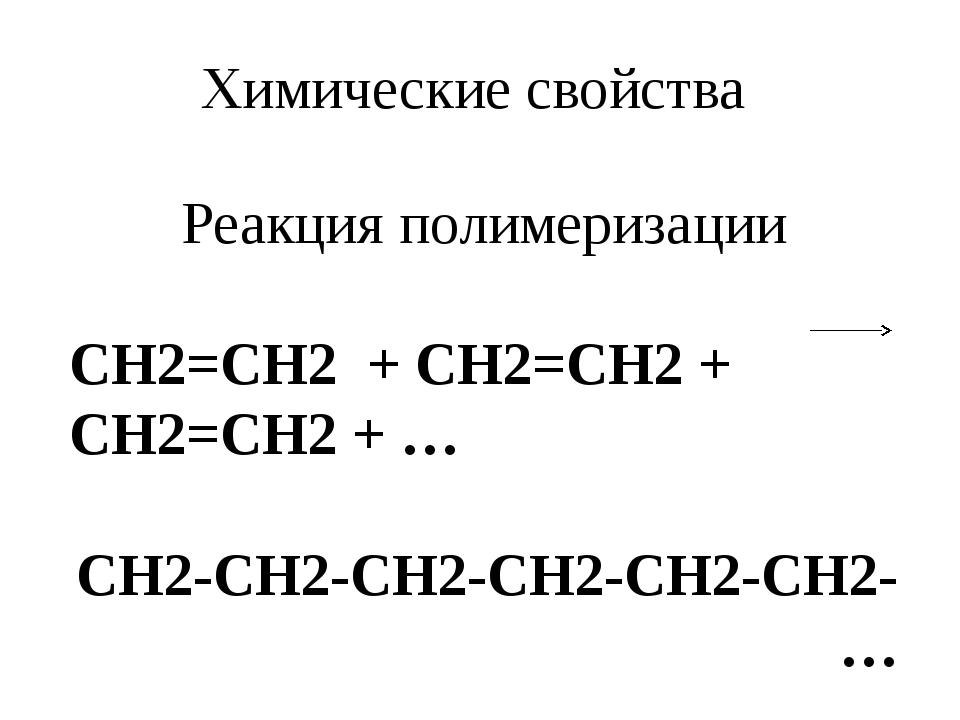 Химические свойства Реакция полимеризации СH2=CH2 + CH2=CH2 + CH2=CH2 + … CH2...