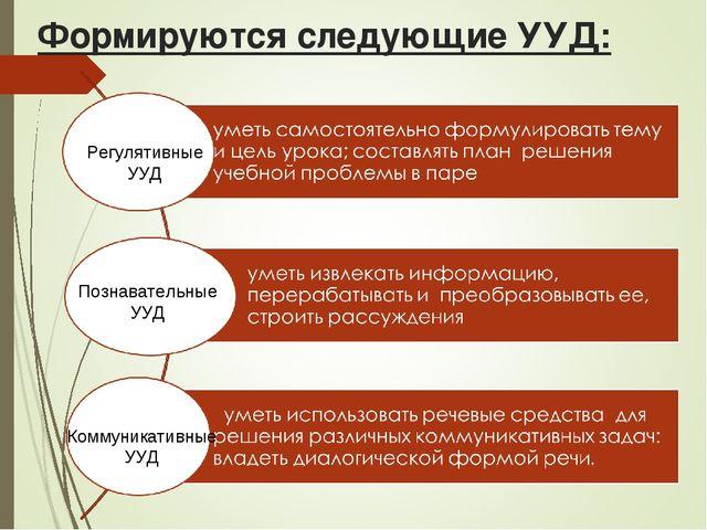 Формируются следующие УУД: Регулятивные УУД Познавательные УУД Коммуникативны...