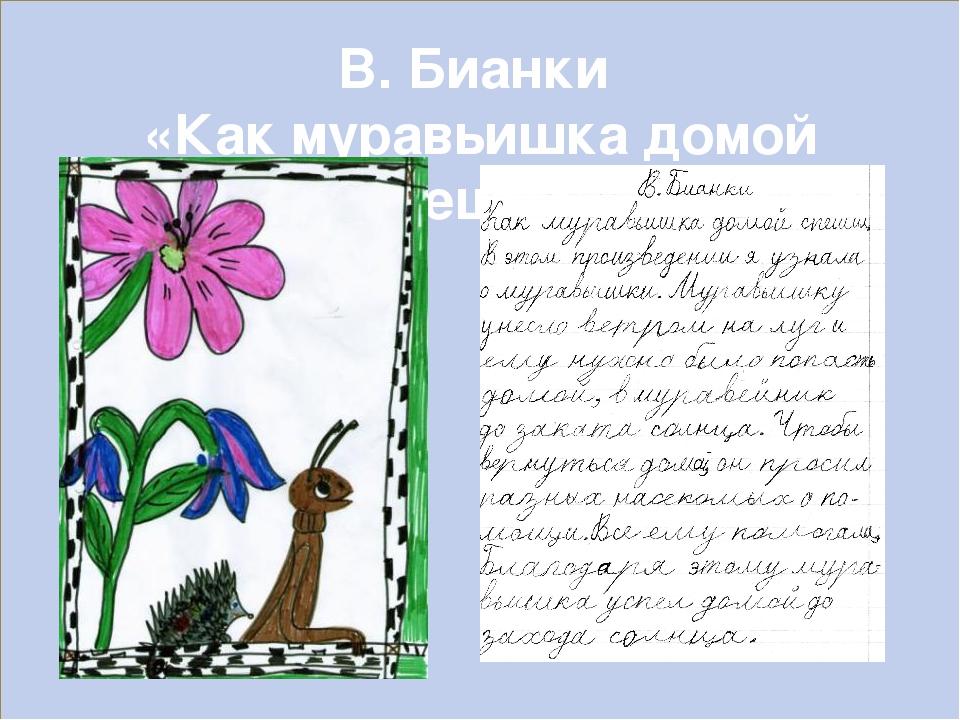 В. Бианки «Как муравьишка домой спешил»