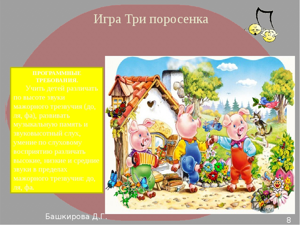Игра Три поросенка ПРОГРАММНЫЕ ТРЕБОВАНИЯ. Учить детей различать по высоте зв...