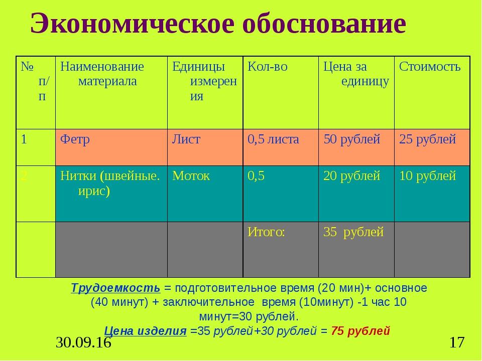 Экономическое обоснование Трудоемкость= подготовительное время (20 мин)+ осн...