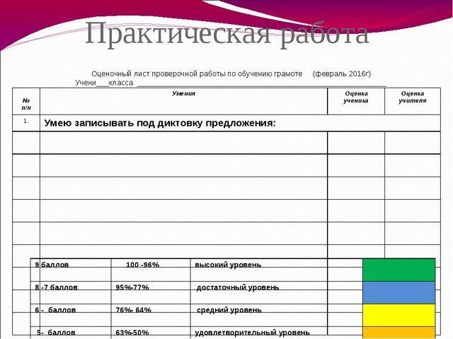 Практическая работа Оценочный лист проверочной работы по обучению грамоте (фе...