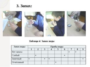 3. Запах: Таблица 4. Запах воды Запах воды Пробы воды 1 2 3 4 5 6 7 8 9 Нет з