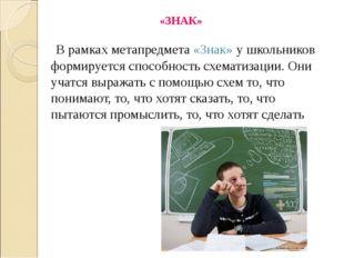 «ЗНАК» В рамках метапредмета «Знак» у школьников формируется способность схем