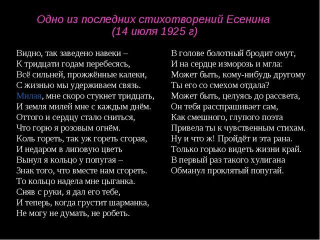 Одно из последних стихотворений Есенина (14 июля 1925 г) Видно, так заведено...