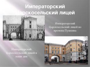 Императорский Царскосельский лицей Императорский Царскосельский лицей во врем