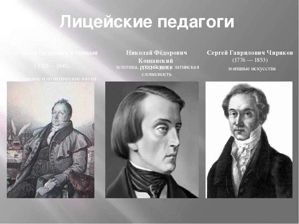 Лицейские педагоги Александр Петрович Куницын (1783—1840) нравственные и по...