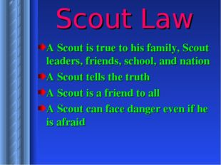 Scout Law A Scout is true to his family, Scout leaders, friends, school, and