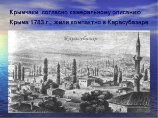 Крымчаки, согласно камеральному описанию Крыма 1783 г., жили компактно в Кара