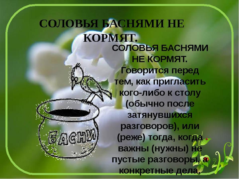 Значение пословиц соловья баснями не кормят