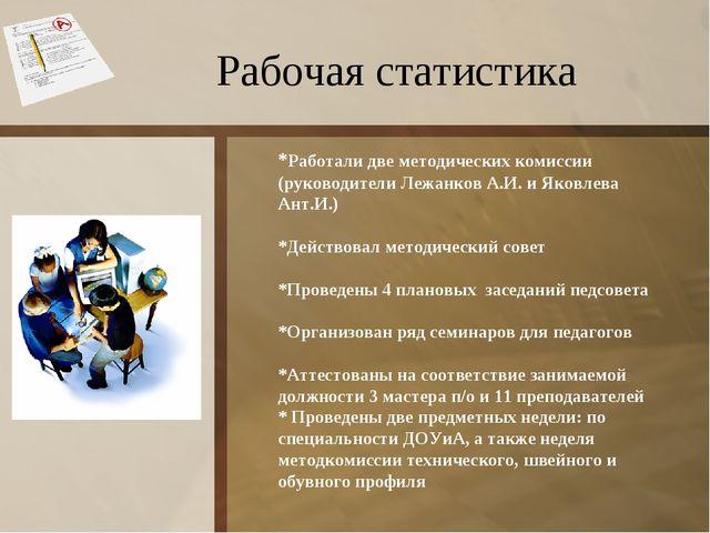Рабочая статистика *Pаботали две методических комиссии (руководители Лежанков...