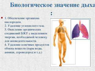 Биологическое значение дыхания: 1. Обеспечение организма кислородом. 2. Удале
