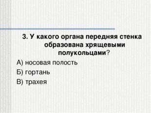 3. У какого органа передняя стенка образована хрящевыми полукольцами? А) носо
