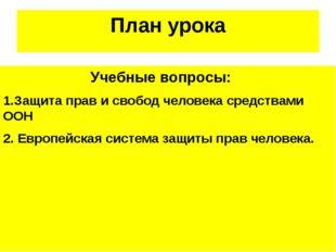 План урока Учебные вопросы: 1.Защита прав и свобод человека средствами ООН 2.