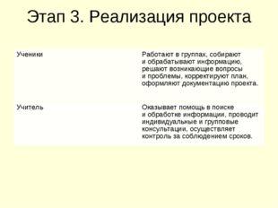 Этап 3. Реализация проекта УченикиРаботают в группах, собирают и обрабатываю