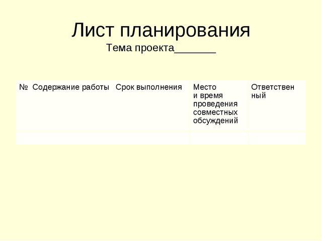 Лист планирования Тема проекта_______ №Содержание работыСрок выполненияМ...