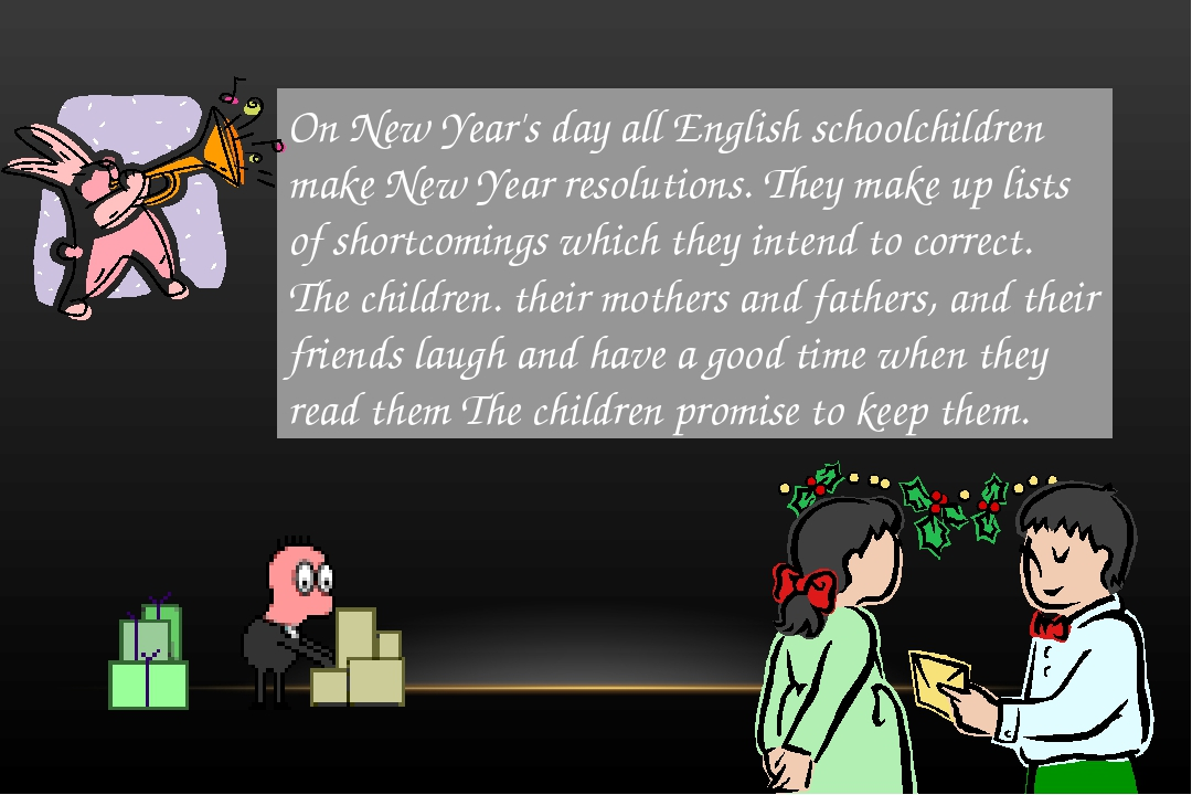 On New Year's day all English schoolchildren make New Year resolutions. They...