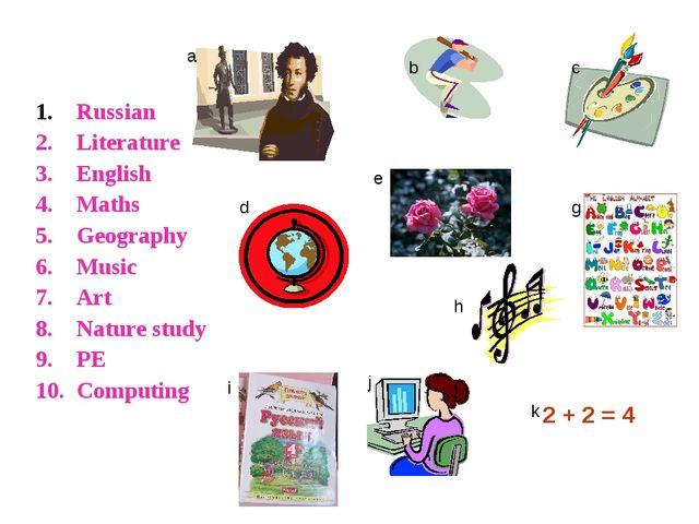 Russian Literature English Maths Geography Music Art Nature study PE Computi...