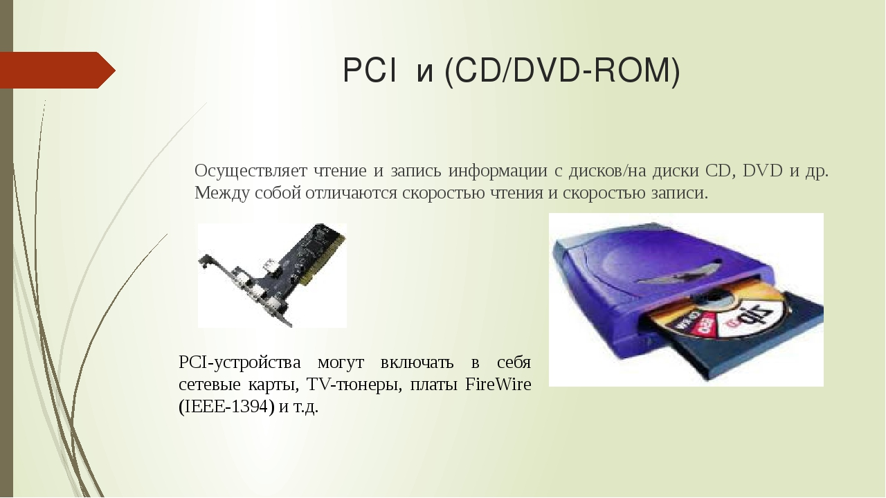 PCI и (CD/DVD-ROM) Осуществляет чтение и запись информации с дисков/на диски...