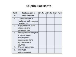 Оценочная карта №п/п Требования к выполнению Уч№ 1 Уч№ 2 Уч№3 1. Подготовка