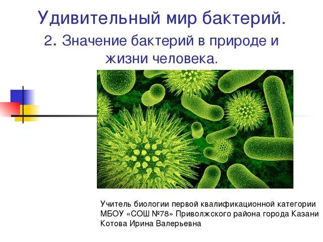 Удивительный мир бактерий. 2. Значение бактерий в природе и жизни человека. У...